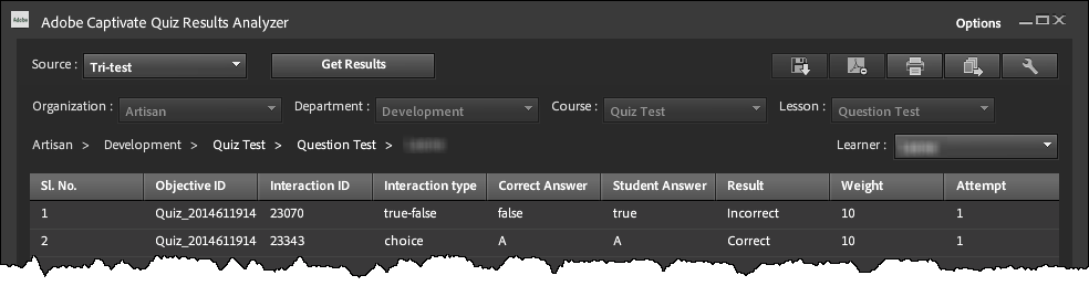 Adobe Captivate Quiz Results Analyzer – Question Data for a Single Student