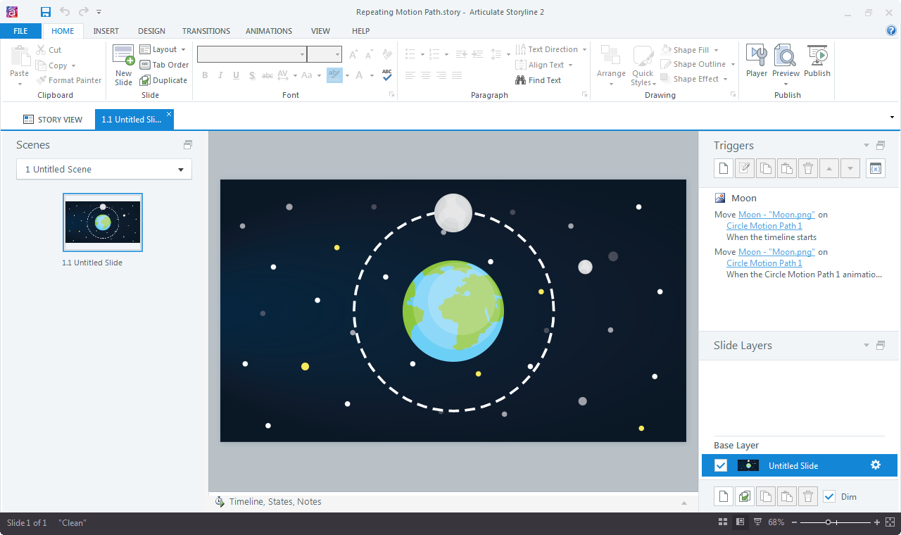 repeating motion paths in Articulate Storyline
