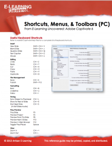 adobe captivate 6 shortcuts, menus, & toolbars (pc) - e-learning, Powerpoint templates